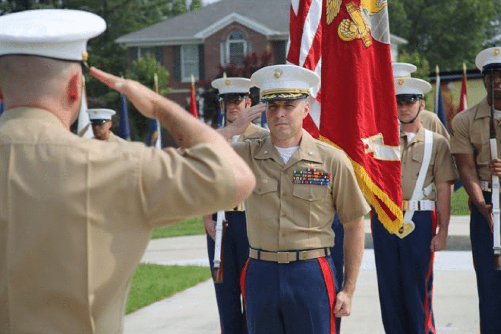 Marine Corps LtCol promotion ceremony flag