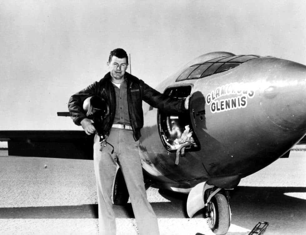 Capt. Charles E. Yeager (shown standing next to the Air Force's Bell-built X-1 supersonic aircraft