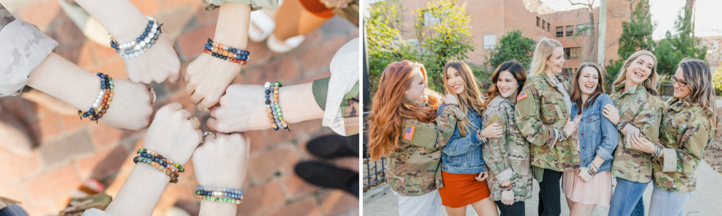 bracelets on hands and army wives standing together